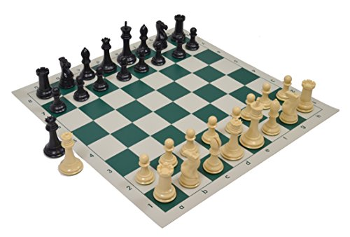 Wholesale Chess Quadruple Weighted Chess Pieces and Vinyl Board - Natural/Black Pieces - Green Board