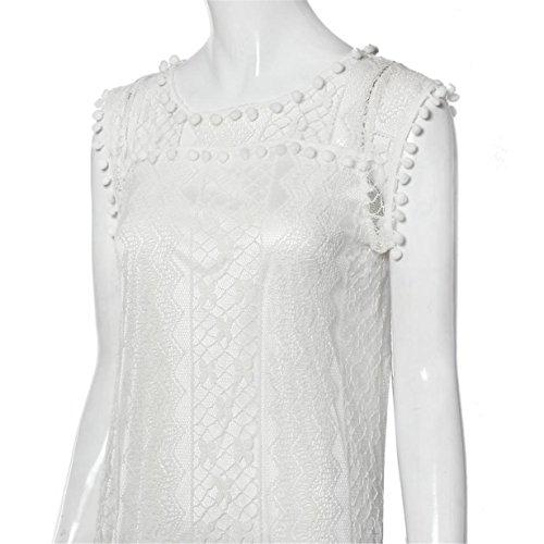Mangas Mujer Vestido Fiesta Longra De Para Blanco Madrina Sin Encaje Blanco flecos con Vestido Verano Suelto Boda WIBqR1S