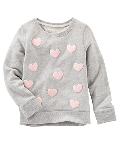Osh Kosh Girls' Kids Long Sleeve Tee, Grey Heart, 12 (Oshkosh Heart)