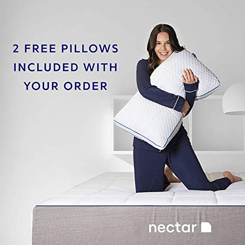 Nectar Queen Mattress + 2 Free Pillows - Gel Memory Foam - CertiPUR- US Certified - 180 Night Home Trial - Forever Warranty