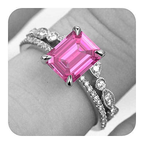 - RUDRAFASHION 6x8mm Emerald Cut Created Pink Sapphire & Diamond 14k White Gold Over .925 Sterling Silver Art Deco Engagement Bridal Ring Cuvred 'V' Band Set for Women's