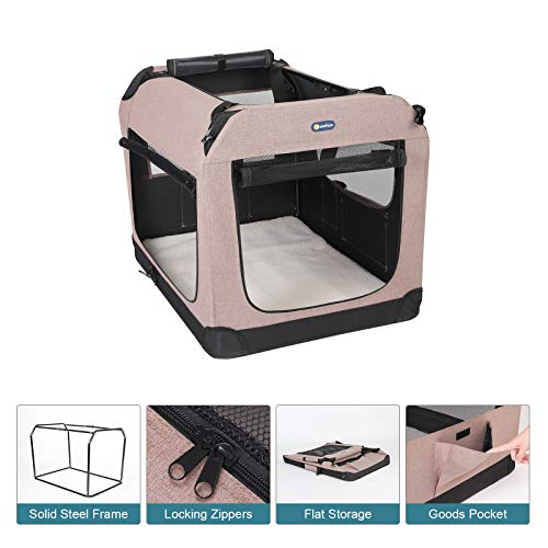 "Veehoo Folding Soft Dog Crate, 3-Door Pet Kennel for Crate-Training Dogs, 5 x Heavy-Weight Mesh Screen, 600D Cationic Oxford Fabric, Indoor & Outdoor Use, 36"", Beige Coffee"