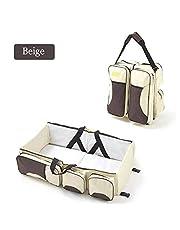 XJLLOVE Baby Travel Folding Crib Portable Multifunctional Large Capacity Mummy Bag Crib Bag, 3 in 1 Travel Diaper Bag Portable Bassinet/Changing Pad Station,2