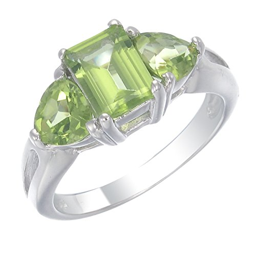 Sterling Silver Peridot 3 Stone Ring (2.30 CT) In Size 5
