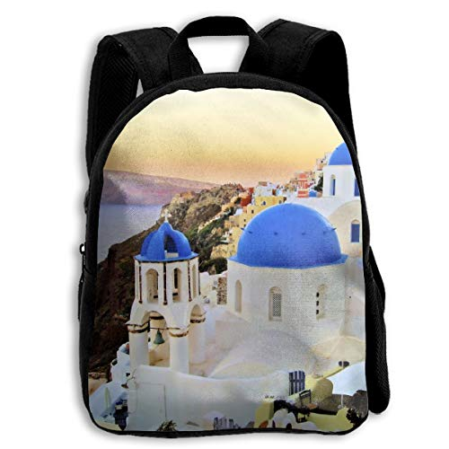 Backpack Kids Sturdy Cute Schoolbags Back to School Backpack for Boys Girls Children - Greece Santorini Blue Dome Churches Sunset