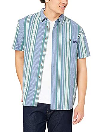 Wrangler Men's Slater Shirt, Blue Green Stripe, R0S
