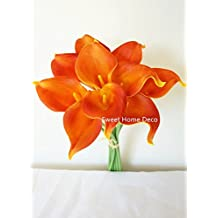"""Sweet Home Deco Latex Real Touch 15"""" Artificial Calla Lily 10 Stems Flower Bouquet for Home/ Wedding (Orange)"""