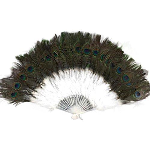 Women Large White Feather Flapper Hand Fan for Dance Marabou Folding Fan