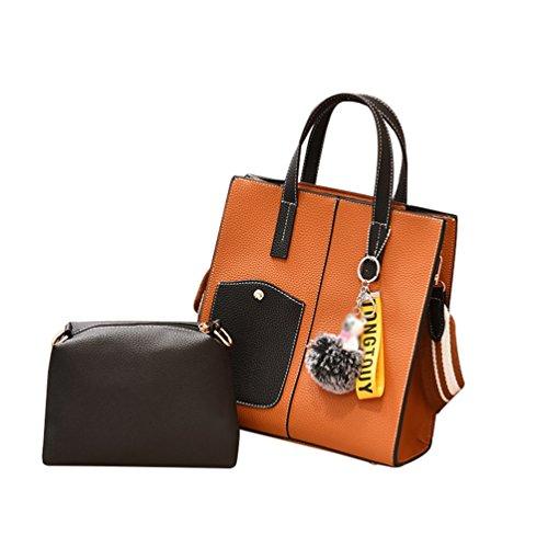 Borse Set Da 2 Linnuo Viaggio Tracolla Arancione Pu Donna Capacità Messenger Pezzi Portafogli Grandi Pelle SdHxBZBw