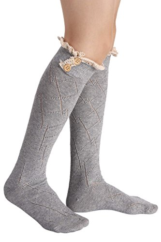 Avidlove Women Socks Lace Trim Leg Warmers Button