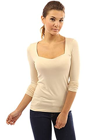 PattyBoutik Women's Square Neck Long Sleeve Blouse (Beige L) - Sweetheart Neck Top