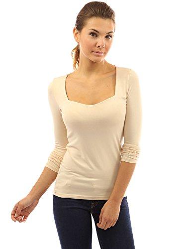 (PattyBoutik Women's Square Neck Long Sleeve Blouse (Beige)