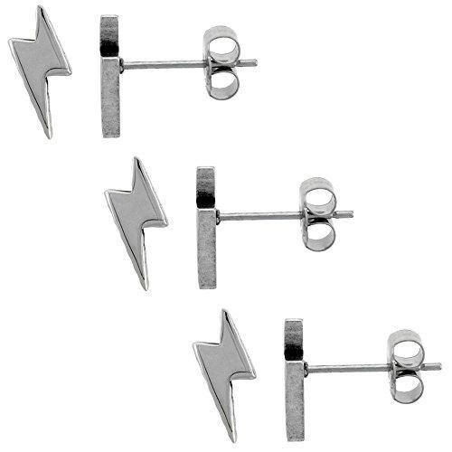 3 PAIR PACK Small Stainless Steel Lightning Bolt Stud Earrings 3/8 (Lightning Saltwater)