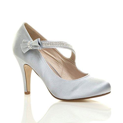 nœud babies Femmes Argent haut talon chaussures avec Strass mariage strass sangle escarpins taille qnwtR0FwxZ
