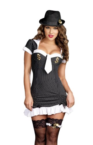 Dreamgirl Women's Money Honey Dress, Black/White, Large