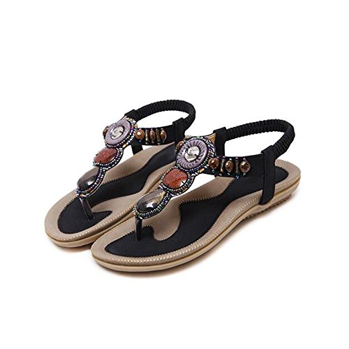 Sandals Feifei Women's Shoes Summer PU Material Ethnic Wind Flat Bottom Fashion Rhinestone 4 Colors Optional Black 4bLyvhaDD