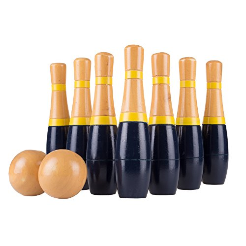 Lawn Bowling Game/Skittle Ball- Indoor and Outdoor Fun for Toddlers, Kids, Adults -10 Wooden Pins, 2 Balls, and Mesh Bag Set by Hey! Play! (8 Inch), Navy - 8""