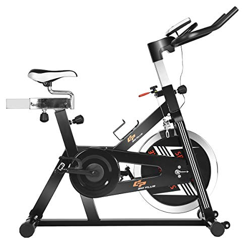 Goplus Indoor Cycling Bike Stationary Bicycle with 48lbs Flywheel, Adjustable Saddle and Handlebars, LCD Display, Professional Exercise Bike for Home and Gym Use Superbuy