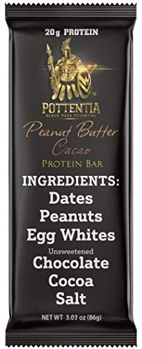 (Pottentia Whole Food Meal Replacement Protein Bar, 20 Grams Protein, Peanut Butter Cacao, Dairy Free, Egg White, Gluten Free, 6 Ingredients, 8 Large 86 Gram Bars, High Fiber, No GMO,)