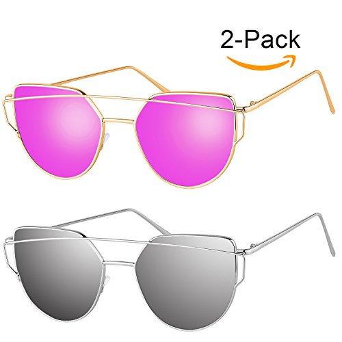 [Pack of 2]Elimoons Sunglasses for Women Men Cat Eye Mirrored Flat Lenses Metal Frame Sunglasses UV 400, Gold/Purple + Silver/Silver -