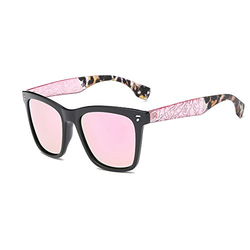 AMZTM Square Frame Reflective Mirrored REVO Lenses Luxury Arms Wayfarer Sunglasses For Women Trend Colorful Driving Glasses (Pink, - Arms Wayfarer