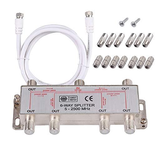 Neoteck 6-Way Coax Cable Splitter Bi-Directional MoCA 5-2500MHz, Coaxial Splitter