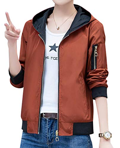 Abetteric Women Baseball Full Zip Classic Fit Reversible Jacket Hoodies 1 L
