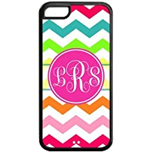 Personalized Rainbow Chevron Pattern Vs Pink Initials Unique Custom APPLE IPHONE 5C Best Durable PVC Cover Case