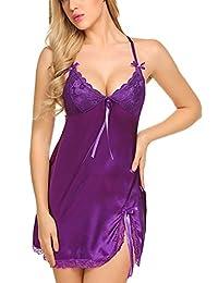 Avidlove Women V Neck Nightwear Lingerie Satin Sleepwear Lace Chemise Mini Teddy