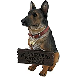 I Don't Dial 911 German Shepherd Guard Dog Warning Statue by Private Label