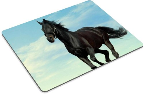 Animal Black Horse Clouds Sunshine Alone Gallop Mouse Pads Customized Made to Order Support Ready 9 7/8 Inch (250mm) X 7 7/8 Inch (200mm) X 1/16 Inch (2mm) High Quality Eco Friendly Cloth with Neoprene Rubber Luxlady Mouse Pad Desktop Mousepad Laptop Mousepads Comfortable Computer Mouse Mat Cute Gaming Mouse pad