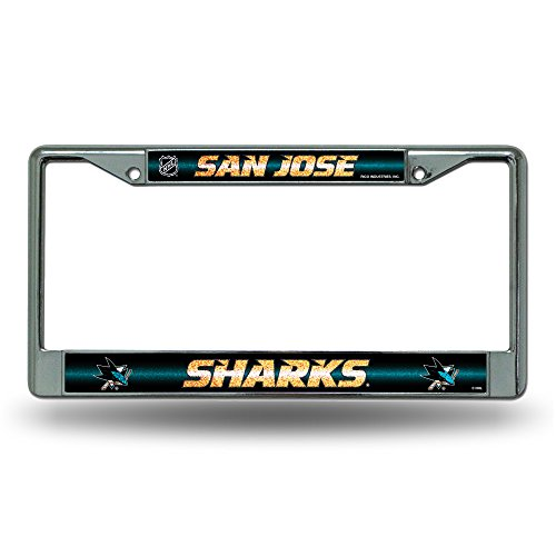 (NHL San Jose Sharks Bling Chrome License Plate Frame with Glitter Accent)
