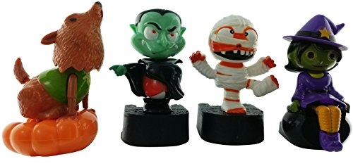 Solar Powered Halloween Bundle Set of 4 Moving Dancing Halloween Figures Howling Werewolf, Dancing Dracula, Bewitching Witch, Karate Kick Mummy