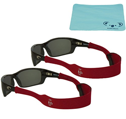 Chums Neoprene Classic Eyewear Retainer, Sunglass Strap, & Sunglasses Band | (XL) Large End | 2pk Bundle + Cloth, - Red Sunglasses Band