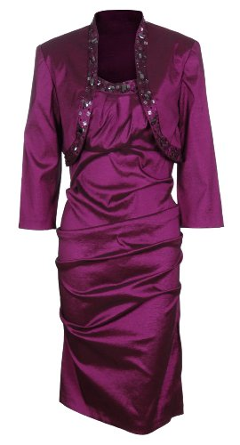 R&M Richards Womens Beaded Taffeta Jacket Dress Set (14 Petite, Fuchsia)