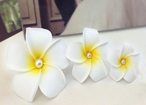 3 Pieces Pearl Heart Frangipani Hair Clip Wedding Girls Bridesmaids Hair Accessory Beach Flower Hairpin (Policy Return Friday Black)