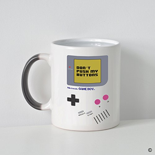 MsMr Custom Morphing Coffee Mug -Funny Mug - Quotes - Nintendo Gameboy Don'T Push My Buttons Heat Changing Color Mug 11oz