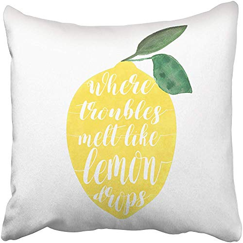 Pillowcase,Where Troubles Melt Like Lemon Drops Quote Decorative Throw Pillow Case 18X18Inch,Home Decoration Pillowcase Zippered Pillow Covers Cushion Cover with Words for Book Lover Worm Sof