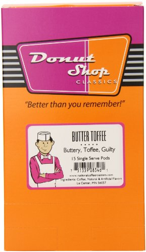 Donut shop Coffee Pods, Butter Toffee, 15 Count (Pack of 6)