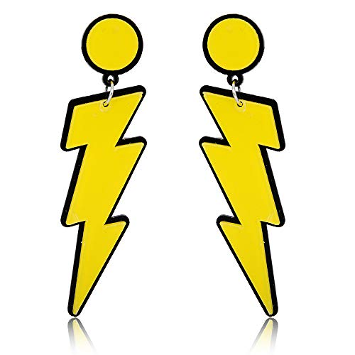 WLL Exaggerated Party Women Lightning Bolt Drop Dangle Earrings (yellow)