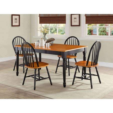 MegaDeal- 5 Piece Wooden Dining and Breakfast Table and Bench Set, Furniture Black and Oak,