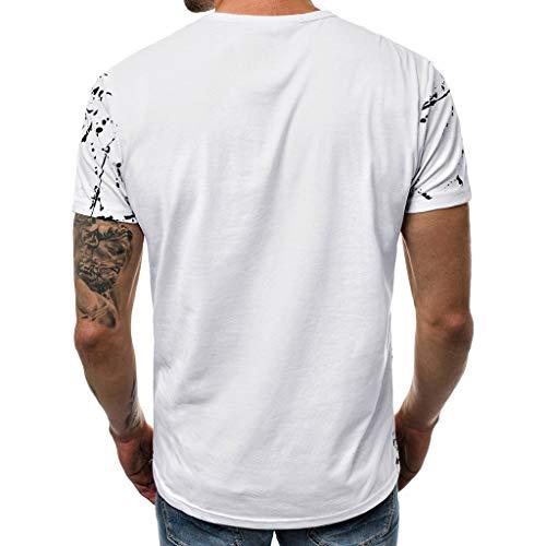 Stampata Toamen Sottile Camicetta Bianca Lettera shirt Sportivo Moda Etero casual Pullover Top Manica T Corta Uomo Semplice Abbigliamento Running 7fYb6gy