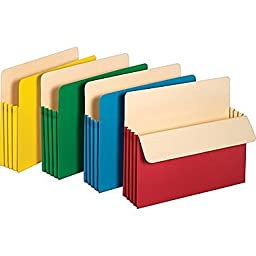 Staples Colored Expanding File Pockets, 3 1/2\