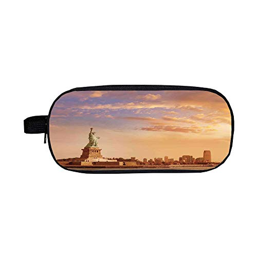 iPrint Pencil case Polychromatic Optional,Sculptures Decor,Statue of Liberty American Freedom Symbol on NYC Sunset Along with River Skyscraper,Yellow White,3D Print Design
