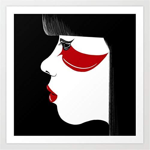 yaonuli Modern-Geisha-Prints Pinturas al oleo Impresion en Lienzo Retrato de Arte de Pared Impresiones Carteles e Impresiones Cuadros de Pared Pintura sin Marco 30x30cm