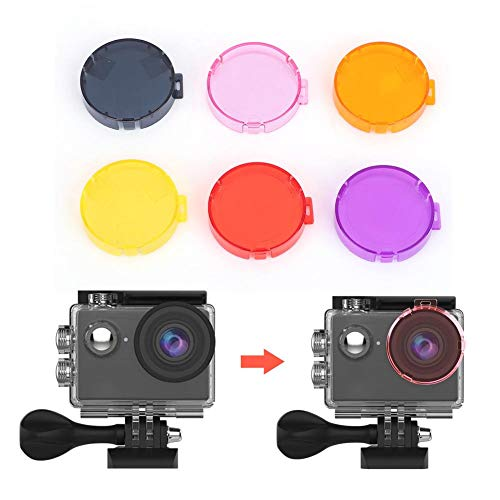 Action Camera Underwater Lens Filters Set for AKASO EK7000, 6 Colors