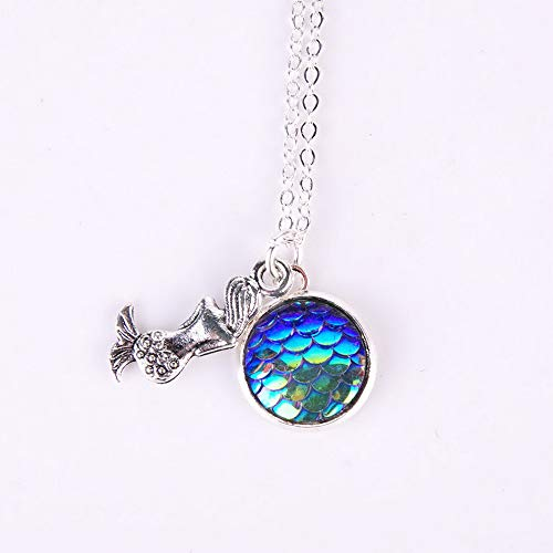 Kaputar Mermaid Fish Scale Pendant Rainbow Holographic Sequins Long Chain Necklace Gift | Model NCKLCS - 19995 |