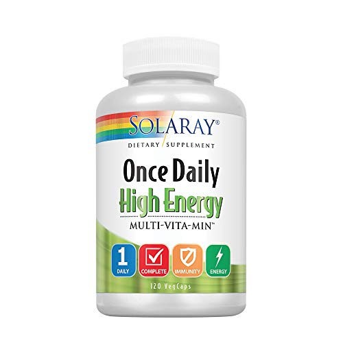 Solaray Once Daily High Energy Multi-Vita-min Veg Capsules, 120 Count Day Energy Multi Vitamin