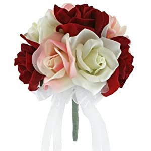 Red + Pink + Ivory Silk Garden Rose Stems- Wedding Bouquets for Bride - Bridal Bouquets for Wedding - Silk Wedding Flowers (Small) 10