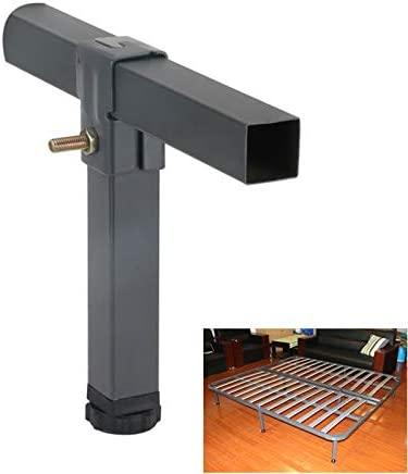 ACAMPTAR 2 Pcs Adjustable Height Clamping Tube Leg Metal Square Bed Lifting Table Legs for Tatami Bed Frame Fixed Support Feet